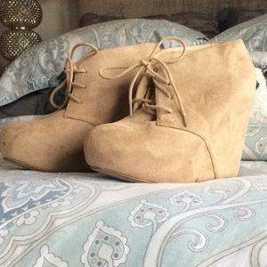Charlotte Russe Tan suede wedge shoe